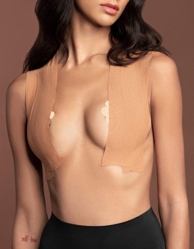 Bye Bra - Body Tape Light Brown and Satin Nipple Covers