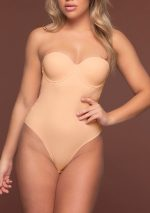 sculpting bodysuit padded wire beige no straps front