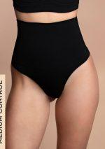 Bye Bra - Shapewear - Seamless High Waist Thong - Black